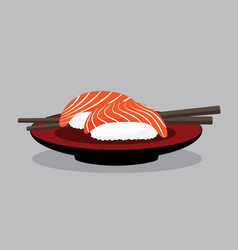 salmon sushi set japan food vector image