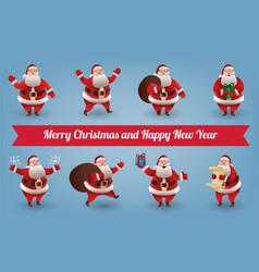 santa claus christmas character set santa with vector image