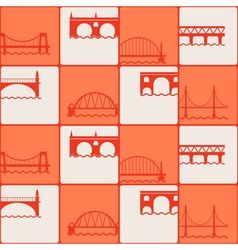 Seamless background with different bridges vector