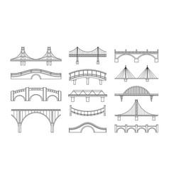Set bridges icons types vector