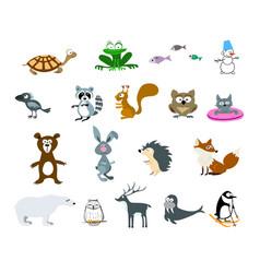 Set cartoon animals and snowman vector