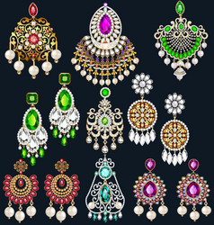 set jewelry with precious stones earrings and vector image