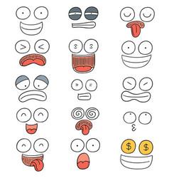 Set of cartoon face vector