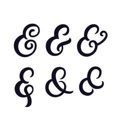 set of hand written ampersands vector image