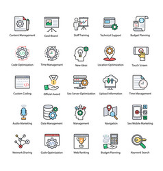 set of web and seo flat icons vector image