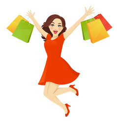 Shopping woman surprised vector