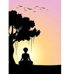 Silhouette man meditating under tree vector