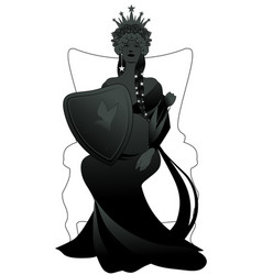 Silhouette queen with long braids and stars on vector