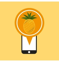 Smartphone with pineapple icon vector