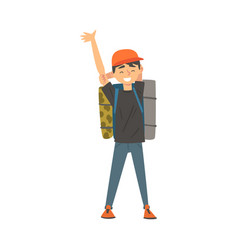 smiling boy standing with backpack kid travelling vector image