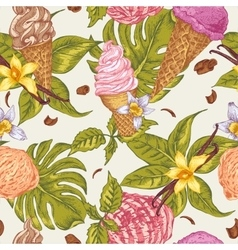 Summer fruit ice cream seamless background vector image