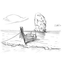Thailand landscape rock long tail boat seascape vector