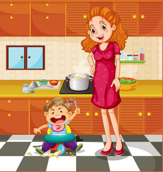 Toddler and mother in the kitchen vector