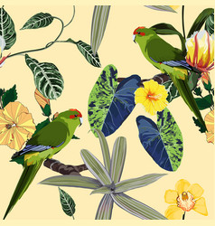 tropical floral print parrot bird in jungle vector image