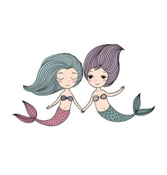 Two beautiful little mermaid siren sea theme vector