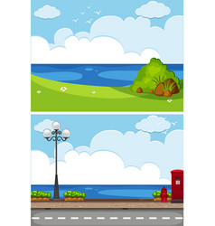 Two ocean scenes with park and road vector