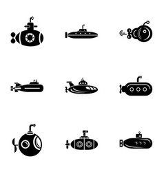 Underwater day icons set simple style vector