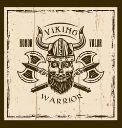viking bearded skull and axes brown emblem vector image