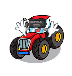 Virtual reality tractor mascot cartoon style vector