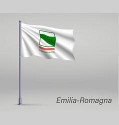Waving flag emilia-romagna - region italy vector