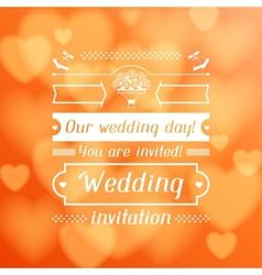 Wedding invitation card in retro style vector image
