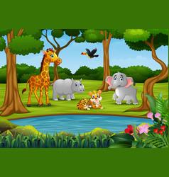 Wild animal group enjoying on the nature vector