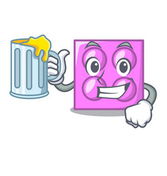 With juice toy brick mascot cartoon vector