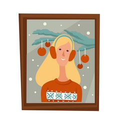 woman christmas photo in frame family member vector image