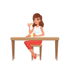 Young woman having breakfast people activity vector