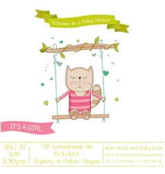 Baby shower or arrival card - baby girl cat vector