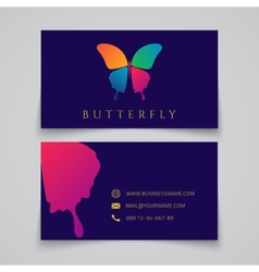 Bussiness card template Butterfly logo vector image vector image
