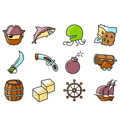 pirate and criminal icons set vector image vector image