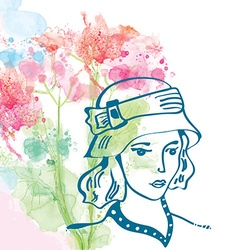 Retro card with girl in hat and floral background vector image