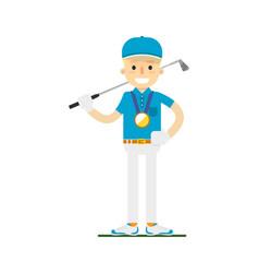smiling golfer winning gold medal vector image vector image