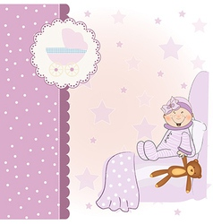 welcome new baby girl vector image vector image
