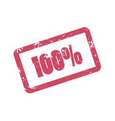 100 percent inscription in red frame one hundred vector