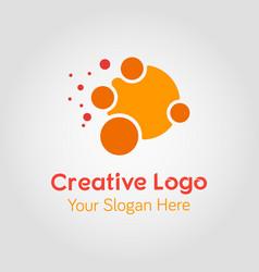 abstract orange circle logo template vector image vector image