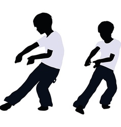 Boy silhouette in pulling pose vector