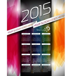 Calendar 2015 on abstract color background vector image vector image