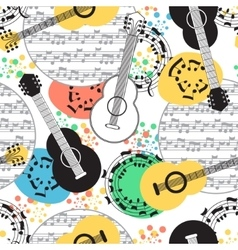 Classical acoustic guitar seamless pattern vector image vector image
