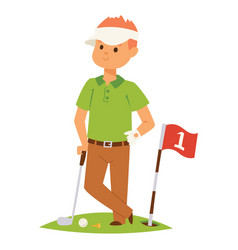 golf player man and accessories golfing vector image