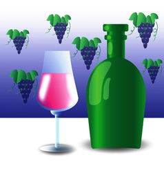 green bottle and wineglass vector image vector image