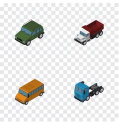 Isometric automobile set of truck autobus vector