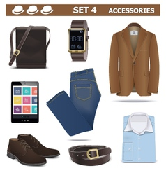 Male Accessories Set 4 vector image