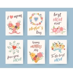 Set of vintage mothers day greeting card Mothers vector image vector image