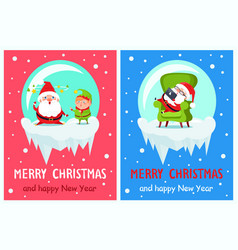 merry christmas happy new year santa elf banners vector image vector image