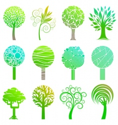 set of trees emblem vector image vector image