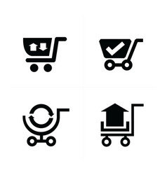 shopping cart icons and symbol vector image vector image