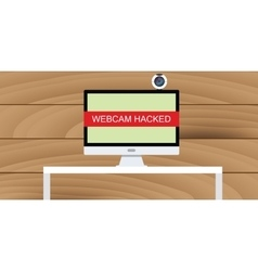 web cam hack webcam hacked pc desktop vector image vector image