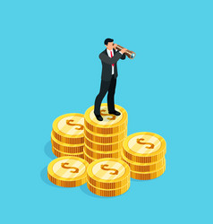 3d businessman standing on a pile of coins vector image vector image